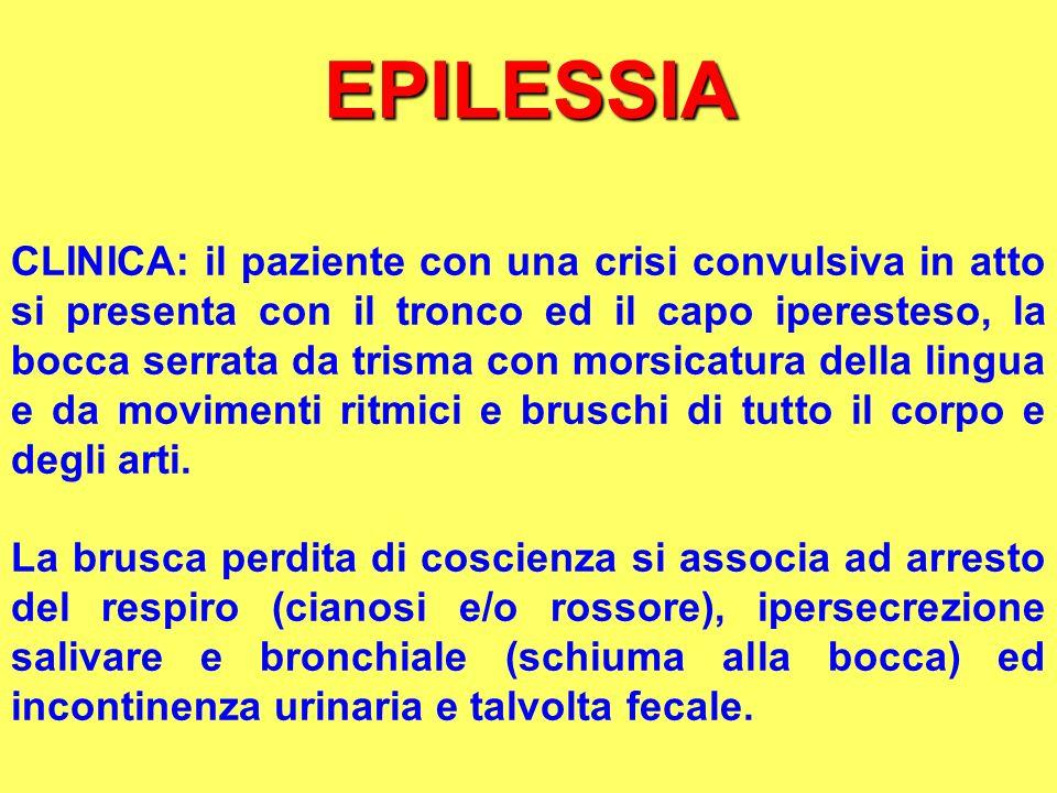 EPILESSIA CLINICA: il paziente con una crisi convulsiva in atto si presenta con il tronco ed il capo iperesteso, la bocca serrata da trisma con morsic