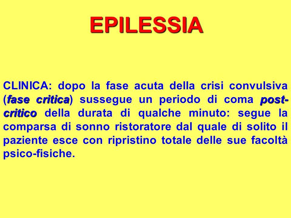 EPILESSIA fase criticapost- critico CLINICA: dopo la fase acuta della crisi convulsiva (fase critica) sussegue un periodo di coma post- critico della