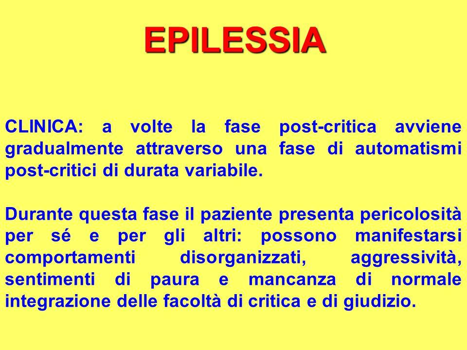 EPILESSIA CLINICA: a volte la fase post-critica avviene gradualmente attraverso una fase di automatismi post-critici di durata variabile. Durante ques