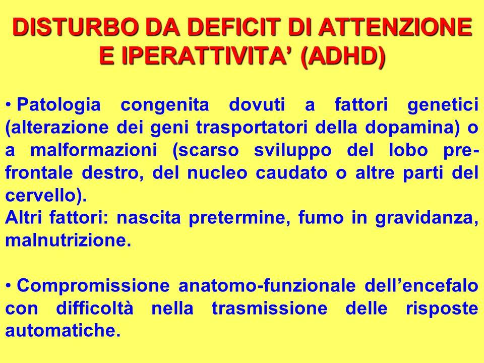 DISTURBO DA DEFICIT DI ATTENZIONE E IPERATTIVITA (ADHD) Patologia congenita dovuti a fattori genetici (alterazione dei geni trasportatori della dopami