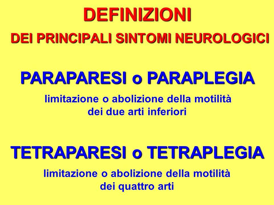 DEFINIZIONI DEI PRINCIPALI SINTOMI NEUROLOGICI PARAPARESI o PARAPLEGIA limitazione o abolizione della motilità dei due arti inferiori TETRAPARESI o TE