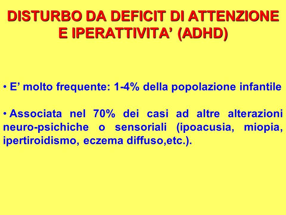 DISTURBO DA DEFICIT DI ATTENZIONE E IPERATTIVITA (ADHD) E molto frequente: 1-4% della popolazione infantile Associata nel 70% dei casi ad altre altera