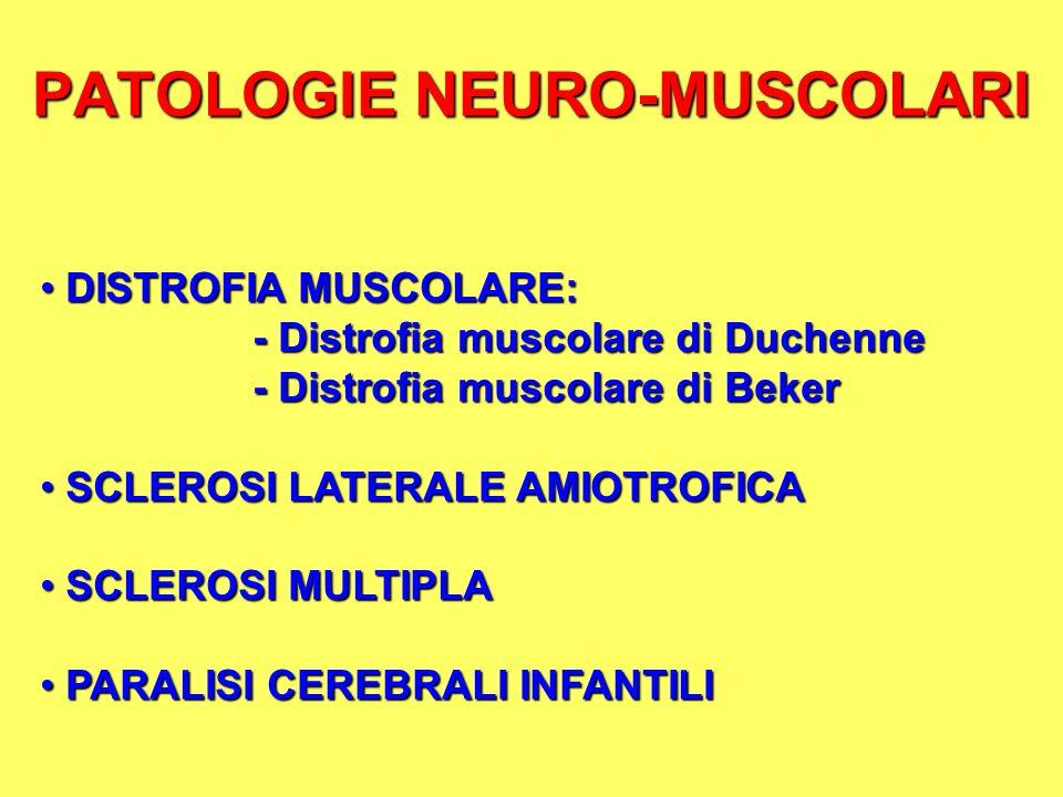 PATOLOGIE NEURO-MUSCOLARI DISTROFIA MUSCOLARE: DISTROFIA MUSCOLARE: - Distrofia muscolare di Duchenne - Distrofia muscolare di Beker SCLEROSI LATERALE