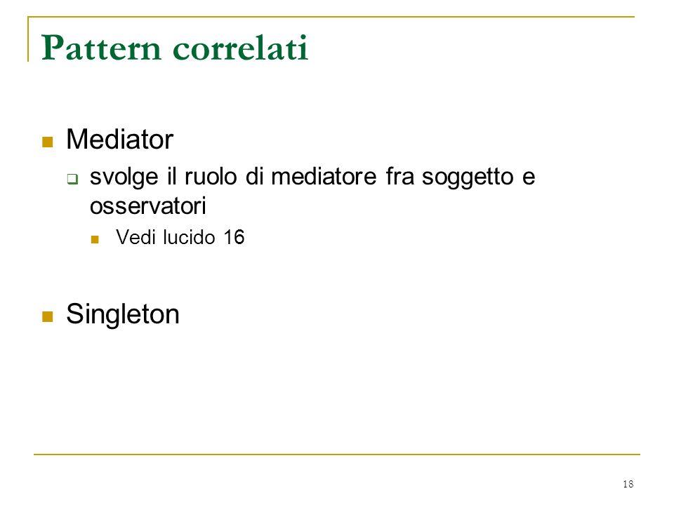 18 Pattern correlati Mediator svolge il ruolo di mediatore fra soggetto e osservatori Vedi lucido 16 Singleton