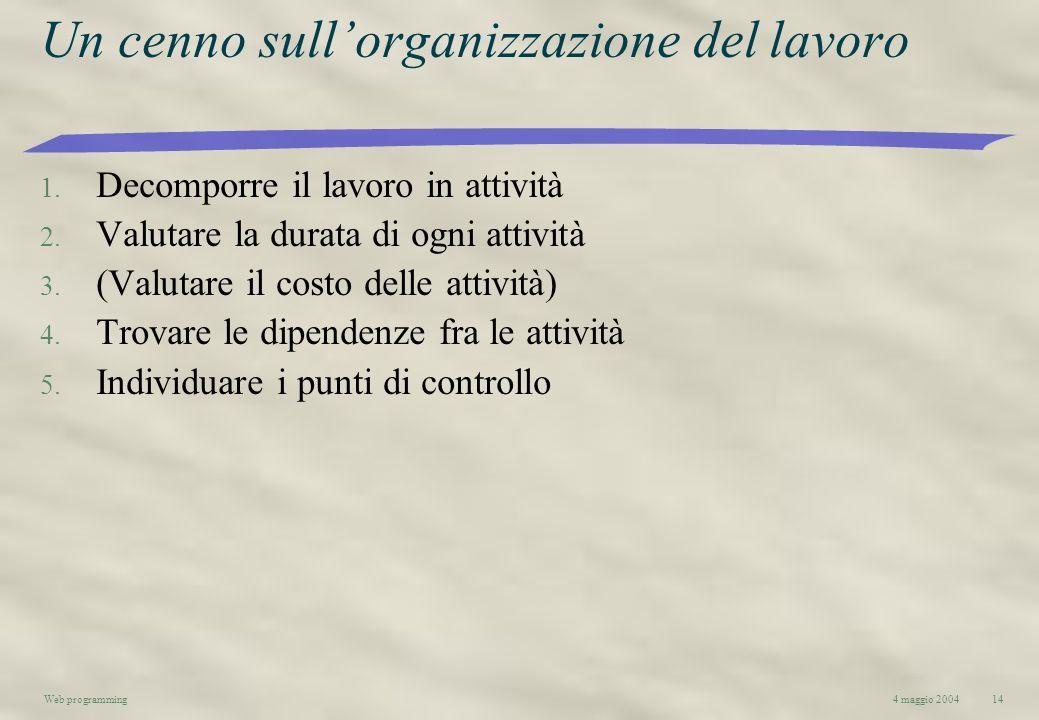 4 maggio 2004Web programming14 Un cenno sullorganizzazione del lavoro 1. Decomporre il lavoro in attività 2. Valutare la durata di ogni attività 3. (V