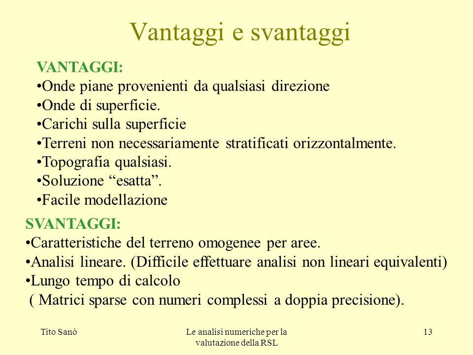 Tito SanòLe analisi numeriche per la valutazione della RSL 13 Vantaggi e svantaggi VANTAGGI: Onde piane provenienti da qualsiasi direzione Onde di sup