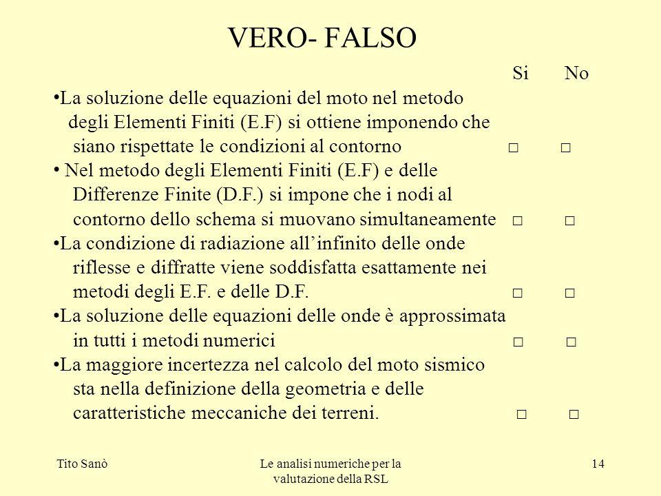 Tito SanòLe analisi numeriche per la valutazione della RSL 14 VERO- FALSO Si No La soluzione delle equazioni del moto nel metodo degli Elementi Finiti
