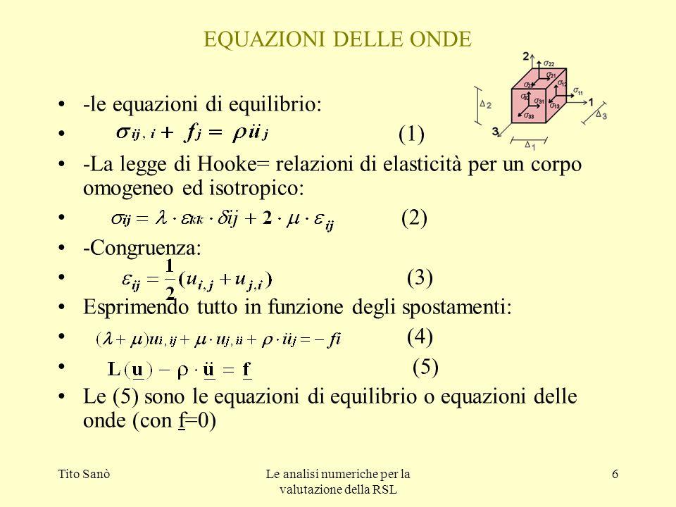 Tito SanòLe analisi numeriche per la valutazione della RSL 6 EQUAZIONI DELLE ONDE -le equazioni di equilibrio: (1) -La legge di Hooke= relazioni di el