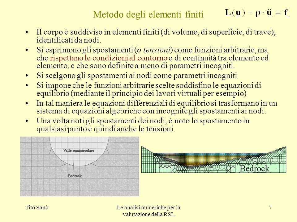 Tito SanòLe analisi numeriche per la valutazione della RSL 7 Metodo degli elementi finiti Il corpo è suddiviso in elementi finiti (di volume, di super