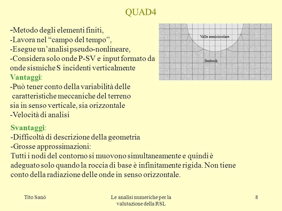 Tito SanòLe analisi numeriche per la valutazione della RSL 8 QUAD4 - Metodo degli elementi finiti, -Lavora nel campo del tempo, -Esegue unanalisi pseu