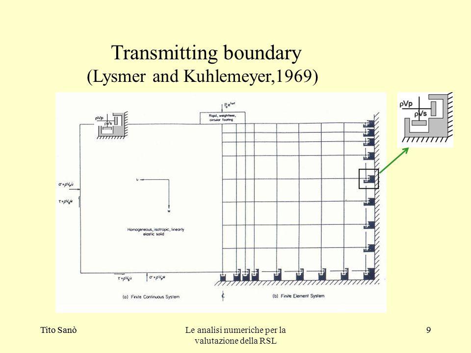Tito SanòLe analisi numeriche per la valutazione della RSL 9Tito Sanò9 Transmitting boundary (Lysmer and Kuhlemeyer,1969)