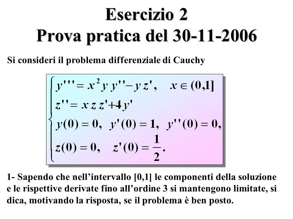 Esercizio 2 Prova pratica del 30-11-2006 Si consideri il problema differenziale di Cauchy 1- Sapendo che nellintervallo [0,1] le componenti della soluzione e le rispettive derivate fino allordine 3 si mantengono limitate, si dica, motivando la risposta, se il problema è ben posto.