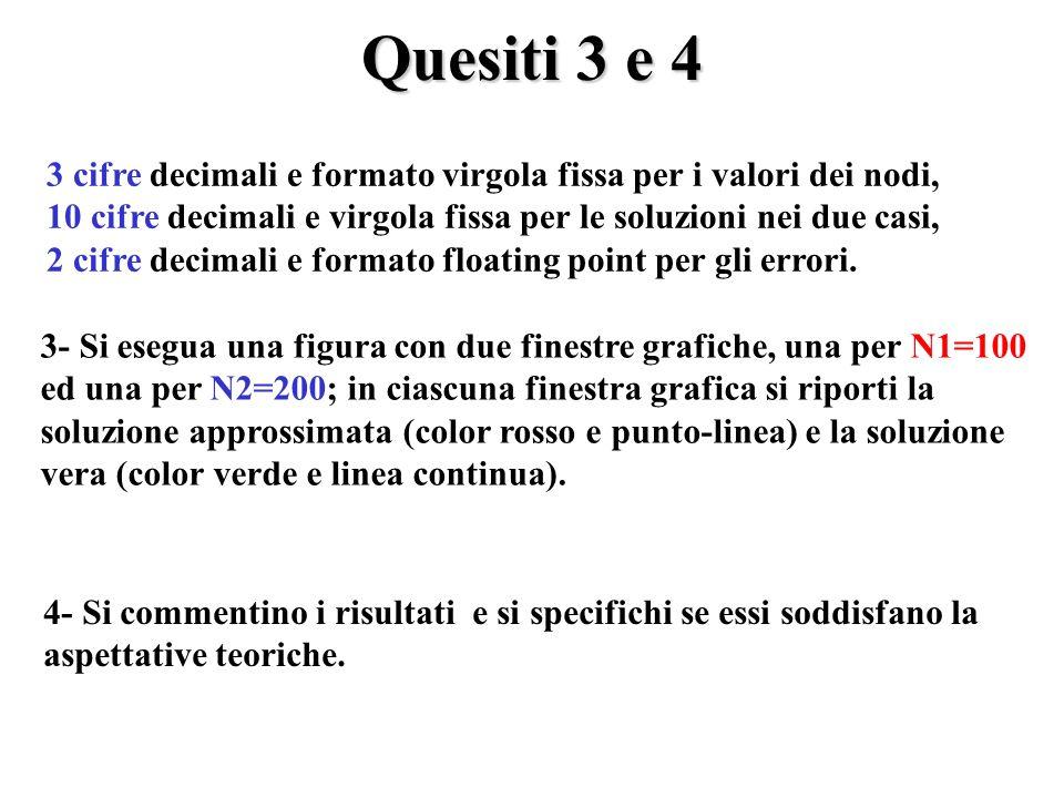 Quesiti 3 e 4 3 cifre decimali e formato virgola fissa per i valori dei nodi, 10 cifre decimali e virgola fissa per le soluzioni nei due casi, 2 cifre decimali e formato floating point per gli errori.