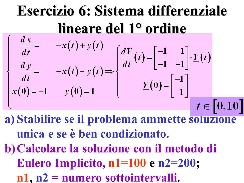 Esercizio 6: Sistema differenziale lineare del 1° ordine a)Stabilire se il problema ammette soluzione unica e se è ben condizionato.
