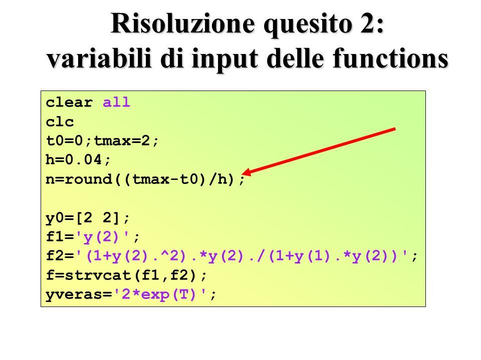 Risoluzione quesito 2: variabili di input delle functions clear all clc t0=0;tmax=2; h=0.04; n=round((tmax-t0)/h); y0=[2 2]; f1= y(2) ; f2= (1+y(2).^2).*y(2)./(1+y(1).*y(2)) ; f=strvcat(f1,f2); yveras= 2*exp(T) ;