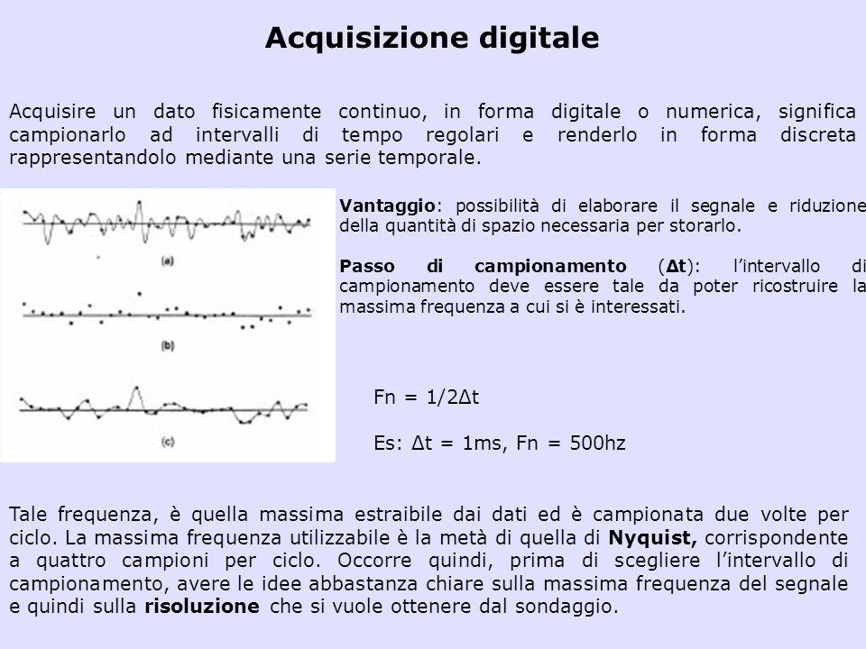 Acquisizione digitale Acquisire un dato fisicamente continuo, in forma digitale o numerica, significa campionarlo ad intervalli di tempo regolari e re