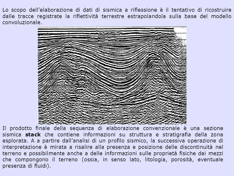Lo scopo dellelaborazione di dati di sismica a riflessione è il tentativo di ricostruire dalle tracce registrate la riflettività terrestre estrapoland