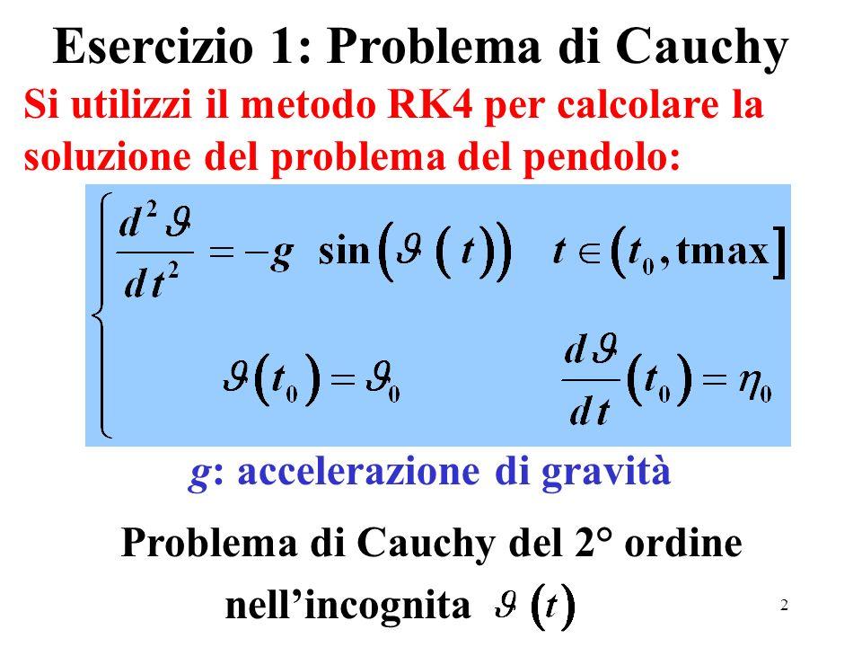 2 Si utilizzi il metodo RK4 per calcolare la soluzione del problema del pendolo: Esercizio 1: Problema di Cauchy Problema di Cauchy del 2° ordine nellincognita g: accelerazione di gravità