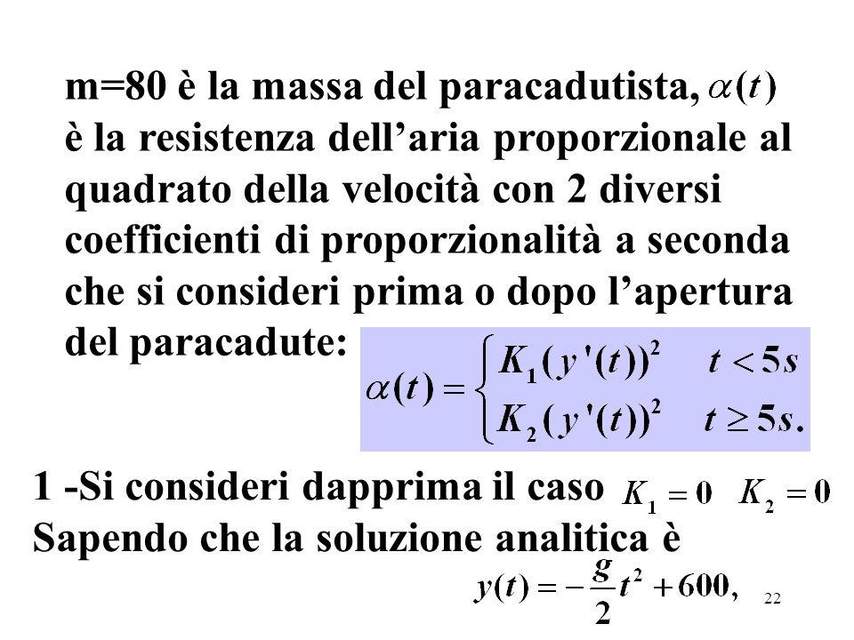 22 m=80 è la massa del paracadutista, è la resistenza dellaria proporzionale al quadrato della velocità con 2 diversi coefficienti di proporzionalità a seconda che si consideri prima o dopo lapertura del paracadute: 1 -Si consideri dapprima il caso Sapendo che la soluzione analitica è