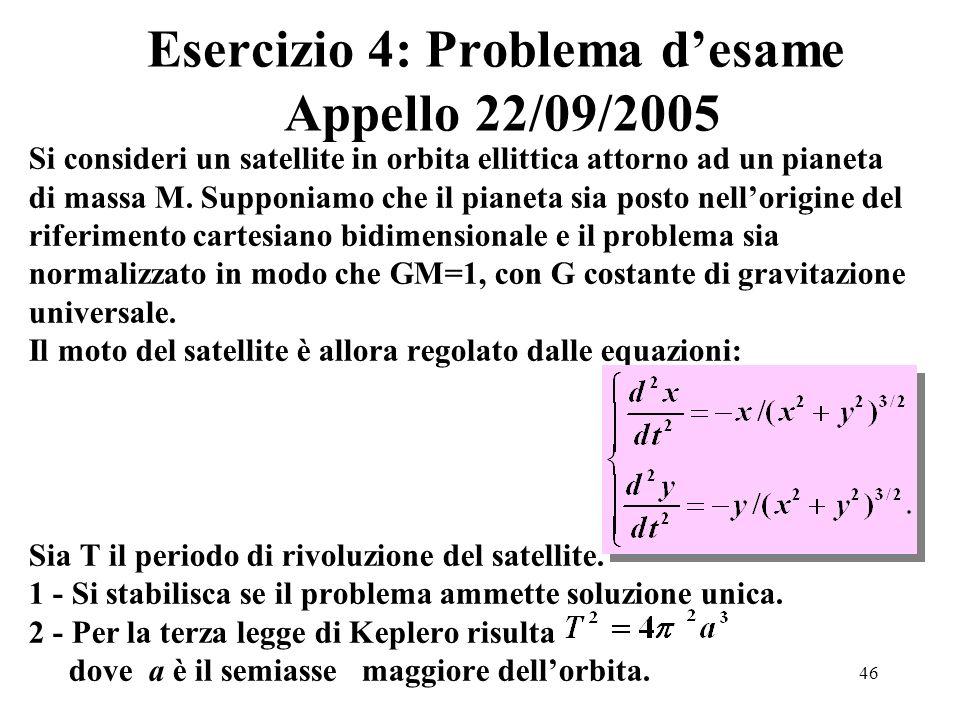 46 Esercizio 4: Problema desame Appello 22/09/2005 Si consideri un satellite in orbita ellittica attorno ad un pianeta di massa M.