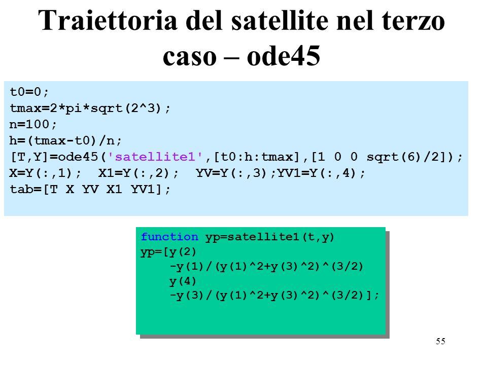 55 Traiettoria del satellite nel terzo caso – ode45 t0=0; tmax=2*pi*sqrt(2^3); n=100; h=(tmax-t0)/n; [T,Y]=ode45( satellite1 ,[t0:h:tmax],[1 0 0 sqrt(6)/2]); X=Y(:,1); X1=Y(:,2); YV=Y(:,3);YV1=Y(:,4); tab=[T X YV X1 YV1]; function yp=satellite1(t,y) yp=[y(2) -y(1)/(y(1)^2+y(3)^2)^(3/2) y(4) -y(3)/(y(1)^2+y(3)^2)^(3/2)]; function yp=satellite1(t,y) yp=[y(2) -y(1)/(y(1)^2+y(3)^2)^(3/2) y(4) -y(3)/(y(1)^2+y(3)^2)^(3/2)];