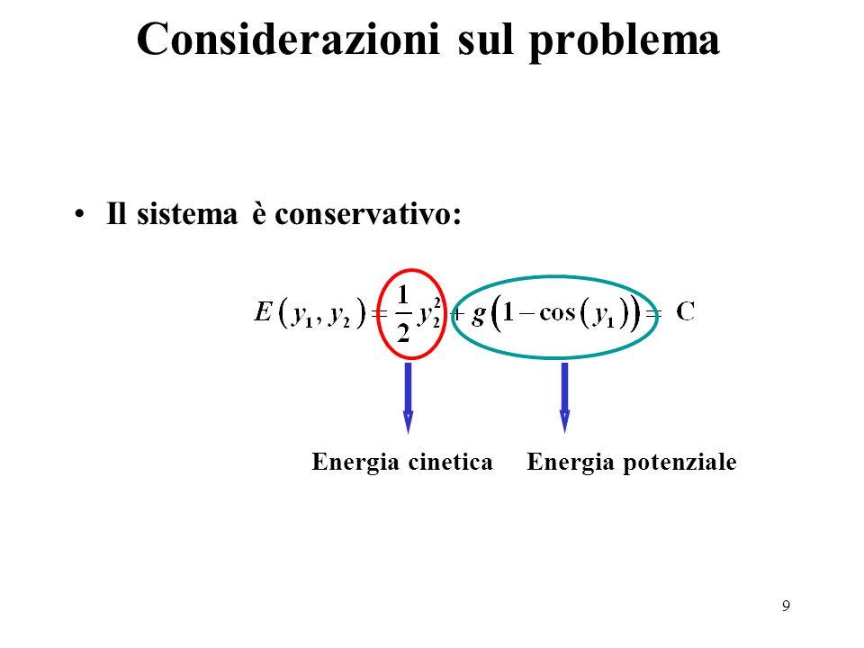 9 Considerazioni sul problema Il sistema è conservativo: Energia cineticaEnergia potenziale