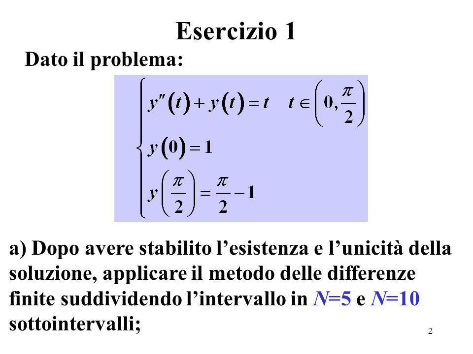 13 Metodo alle differenze: risultati per N = 10 Tempo soluzione Err2 0.0000 1.00000000 0.000e+000 0.1571 0.98840160 6.809e-005 0.3142 0.95629116 9.237e-005 0.4712 0.90833674 8.182e-005 0.6283 0.84959737 4.710e-005 0.7854 0.78539816 1.221e-015 0.9425 0.72119896 4.710e-005 1.0996 0.66245958 8.182e-005 1.2566 0.61450517 9.237e-005 1.4137 0.58239472 6.809e-005 1.5708 0.57079633 1.110e-016