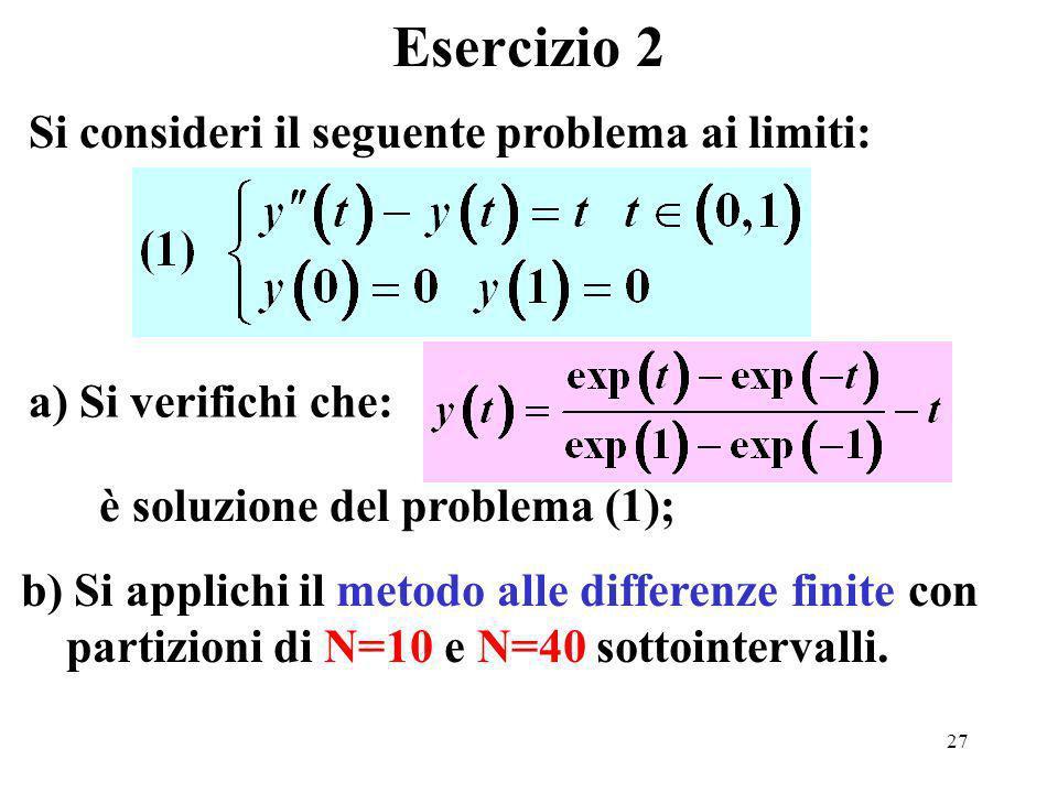 27 Esercizio 2 Si consideri il seguente problema ai limiti: a) Si verifichi che: è soluzione del problema (1); b) Si applichi il metodo alle differenze finite con partizioni di N=10 e N=40 sottointervalli.