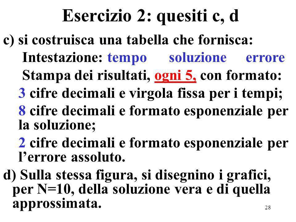 28 Esercizio 2: quesiti c, d c) si costruisca una tabella che fornisca: Intestazione: tempo soluzione errore Stampa dei risultati, ogni 5, con formato: 3 cifre decimali e virgola fissa per i tempi; 8 cifre decimali e formato esponenziale per la soluzione; 2 cifre decimali e formato esponenziale per lerrore assoluto.