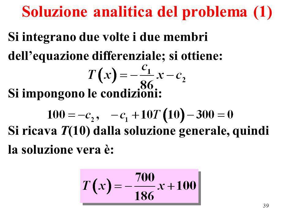 39 Soluzione analitica del problema (1) Si integrano due volte i due membri dellequazione differenziale; si ottiene: Si impongono le condizioni: Si ricava T(10) dalla soluzione generale, quindi la soluzione vera è:
