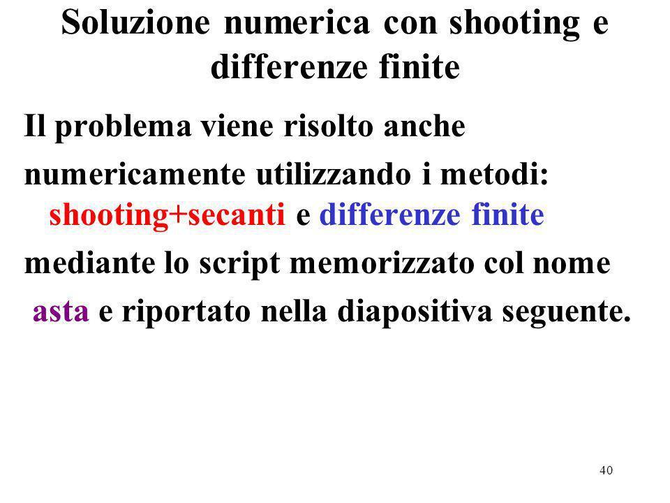 40 Soluzione numerica con shooting e differenze finite Il problema viene risolto anche numericamente utilizzando i metodi: shooting+secanti e differenze finite mediante lo script memorizzato col nome asta e riportato nella diapositiva seguente.