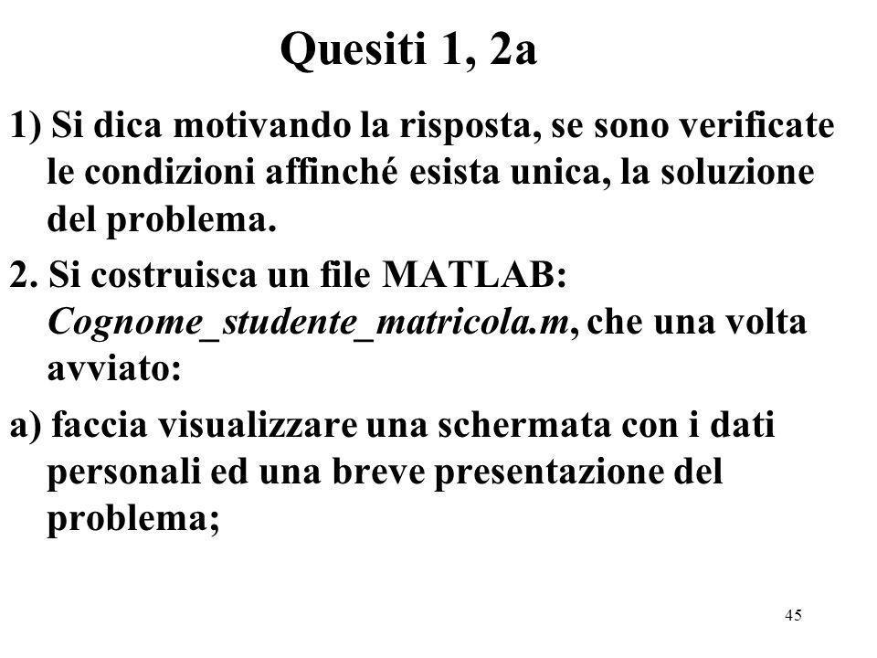 45 1) Si dica motivando la risposta, se sono verificate le condizioni affinché esista unica, la soluzione del problema.