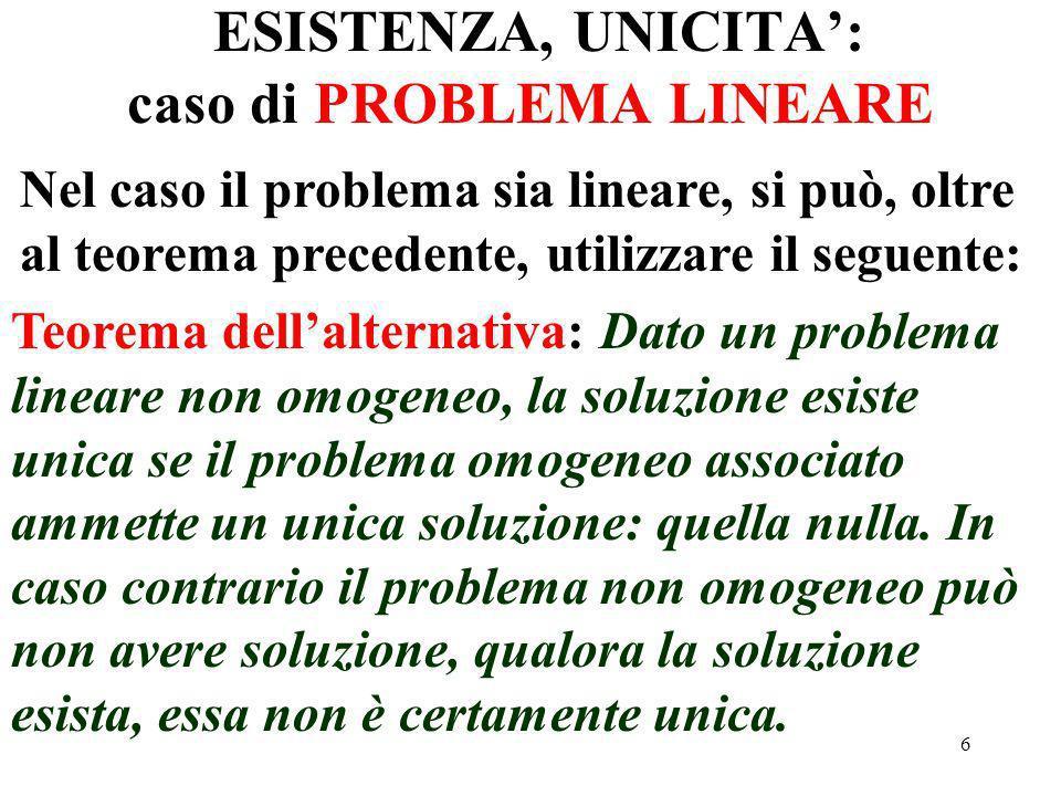 57 Quesito1:Esistenza ed unicità della soluzione Si consideri il problema associato con