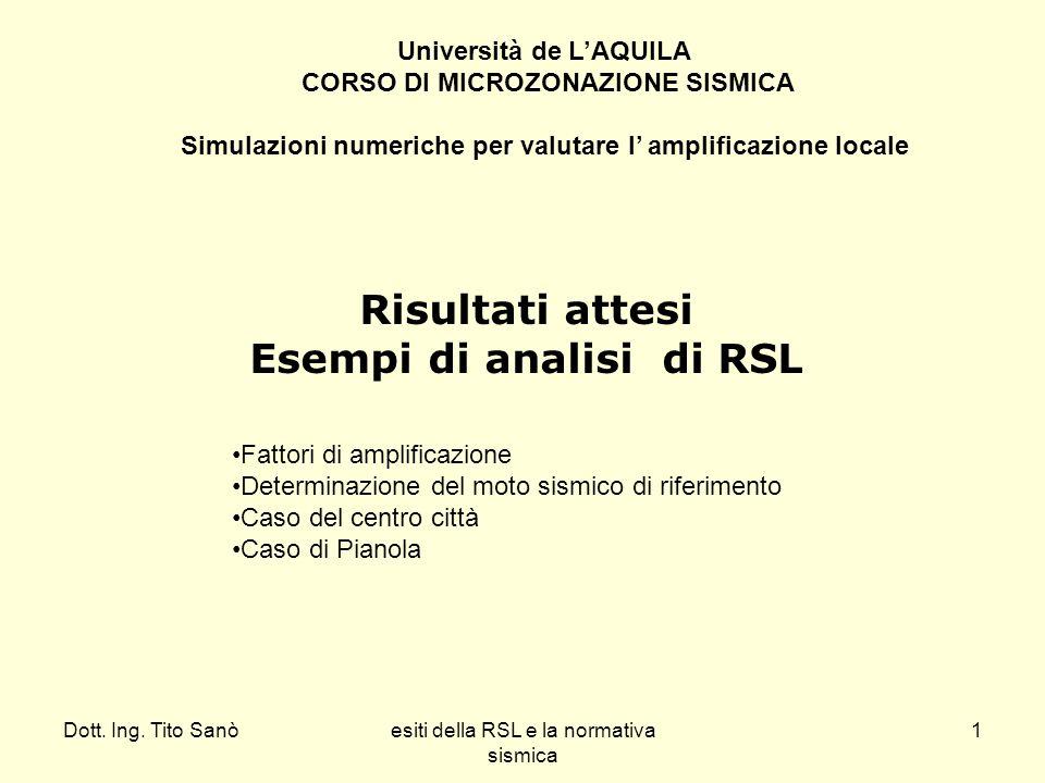 Dott. Ing. Tito Sanòesiti della RSL e la normativa sismica 1 Risultati attesi Esempi di analisi di RSL Fattori di amplificazione Determinazione del mo