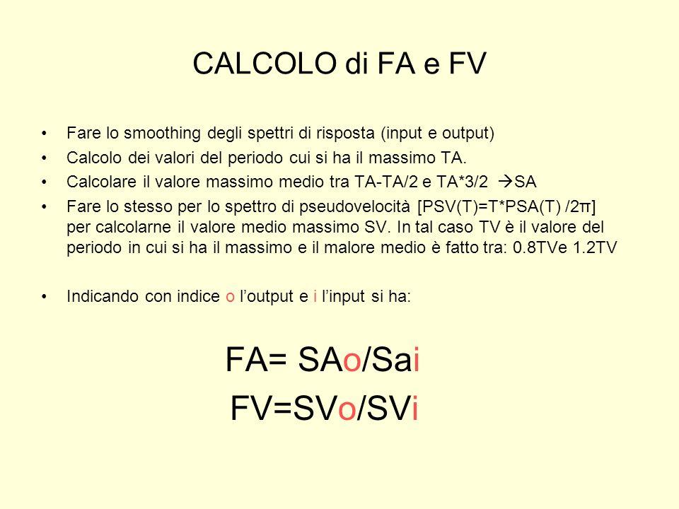 CALCOLO di FA e FV Fare lo smoothing degli spettri di risposta (input e output) Calcolo dei valori del periodo cui si ha il massimo TA. Calcolare il v