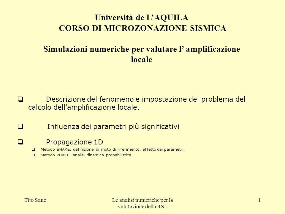 Tito SanòLe analisi numeriche per la valutazione della RSL 1 Descrizione del fenomeno e impostazione del problema del calcolo dellamplificazione local