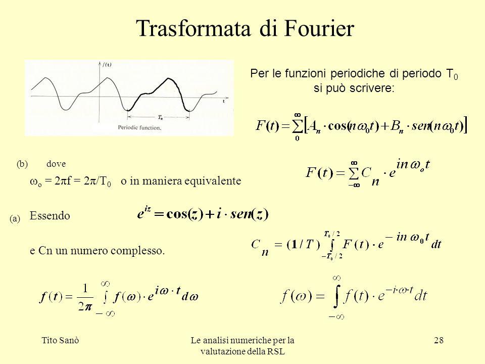 Tito SanòLe analisi numeriche per la valutazione della RSL 28 Trasformata di Fourier ω o = 2πf = 2π/T 0 o in maniera equivalente Essendo e Cn un numer