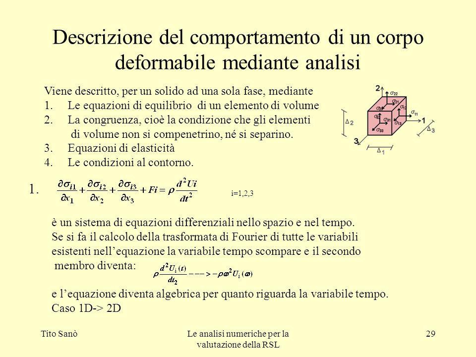 Tito SanòLe analisi numeriche per la valutazione della RSL 29 Descrizione del comportamento di un corpo deformabile mediante analisi Viene descritto,