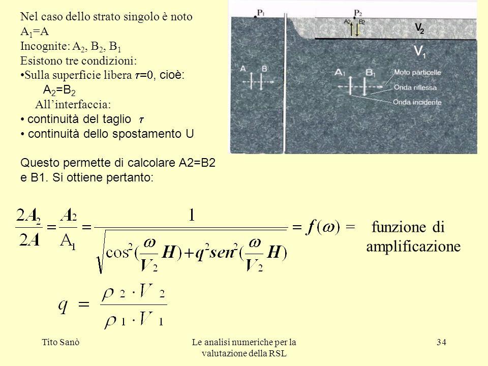 Tito SanòLe analisi numeriche per la valutazione della RSL 34 Nel caso dello strato singolo è noto A 1 =A Incognite: A 2, B 2, B 1 Esistono tre condiz