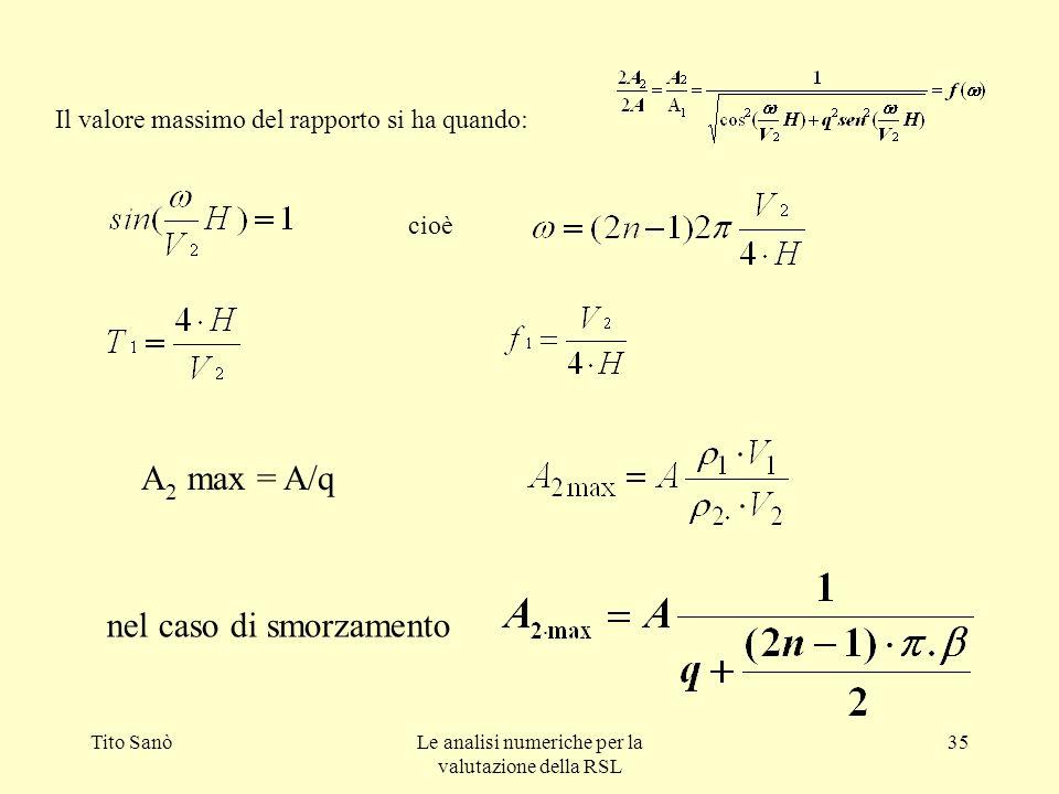 Tito SanòLe analisi numeriche per la valutazione della RSL 35 Il valore massimo del rapporto si ha quando: cioè A 2 max = A/q nel caso di smorzamento