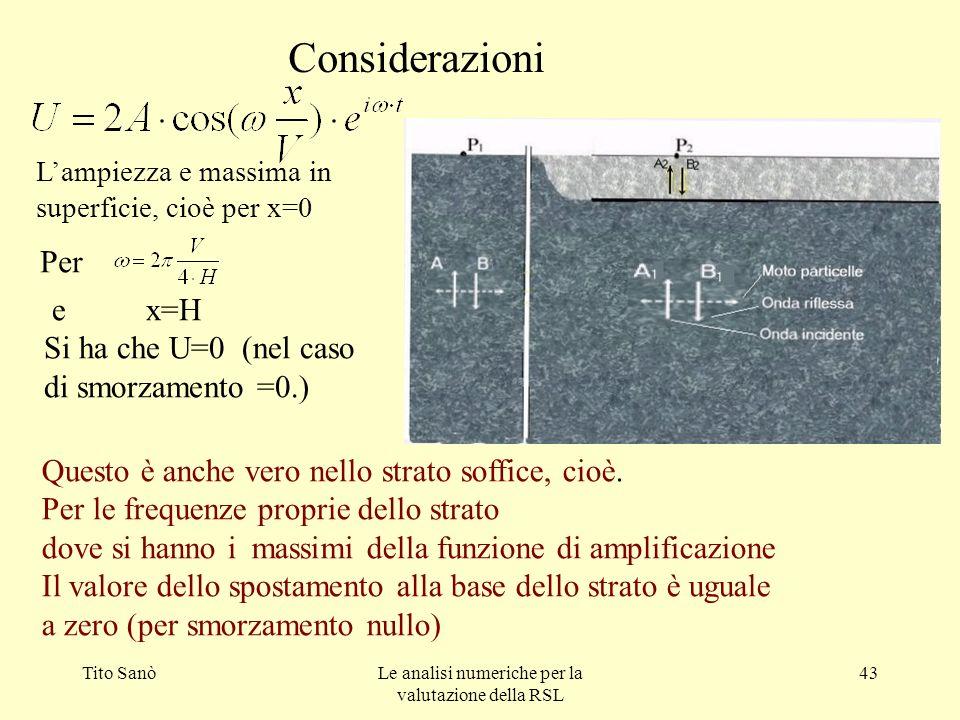 Tito SanòLe analisi numeriche per la valutazione della RSL 43 Considerazioni Per e x=H Si ha che U=0 (nel caso di smorzamento =0.) Questo è anche vero