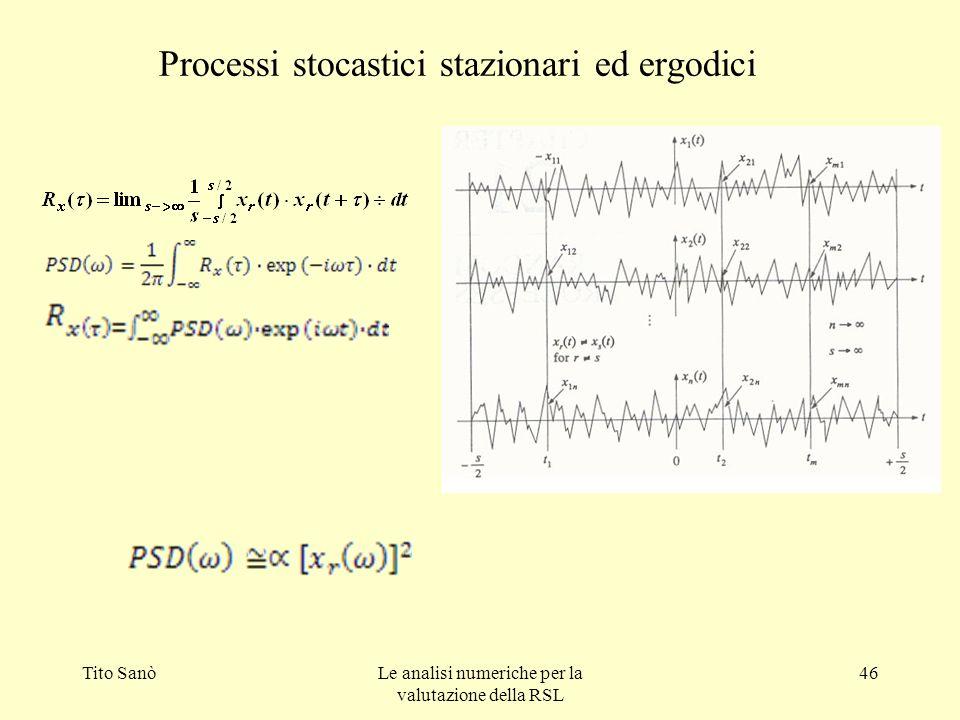 Tito SanòLe analisi numeriche per la valutazione della RSL 46 Processi stocastici stazionari ed ergodici