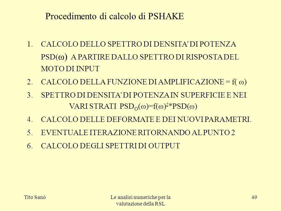 Tito SanòLe analisi numeriche per la valutazione della RSL 49 1.CALCOLO DELLO SPETTRO DI DENSITA DI POTENZA PSD( ω) A PARTIRE DALLO SPETTRO DI RISPOST