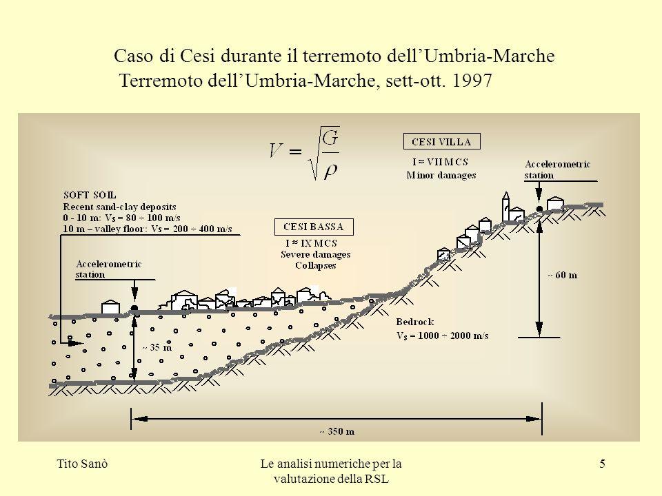 Tito SanòLe analisi numeriche per la valutazione della RSL 5 Caso di Cesi durante il terremoto dellUmbria-Marche Terremoto dellUmbria-Marche, sett-ott