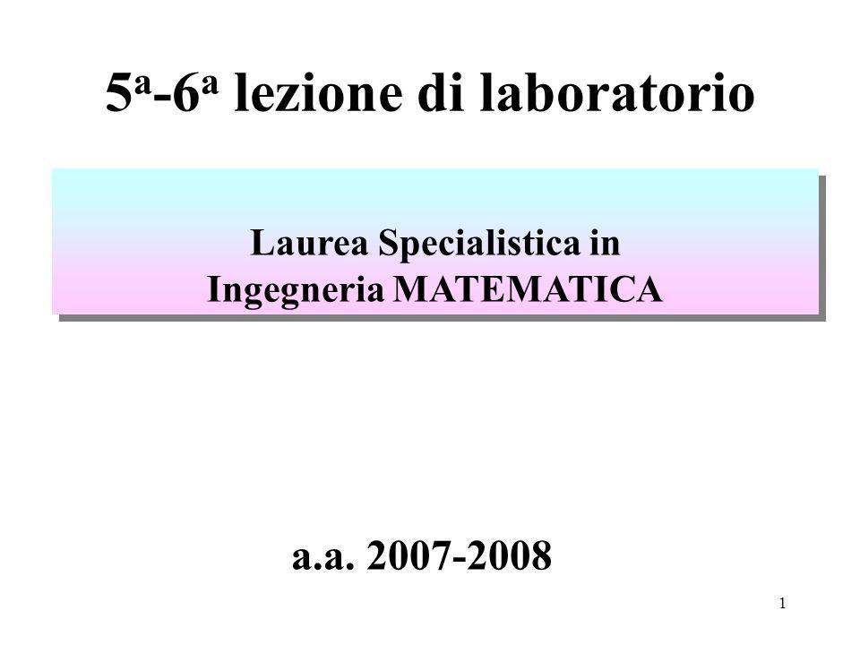 1 5 a -6 a lezione di laboratorio Laurea Specialistica in Ingegneria MATEMATICA Laurea Specialistica in Ingegneria MATEMATICA a.a.