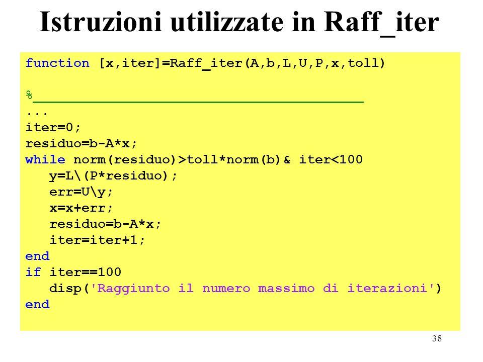 38 Istruzioni utilizzate in Raff_iter function [x,iter]=Raff_iter(A,b,L,U,P,x,toll) %_________________________________________... iter=0; residuo=b-A*