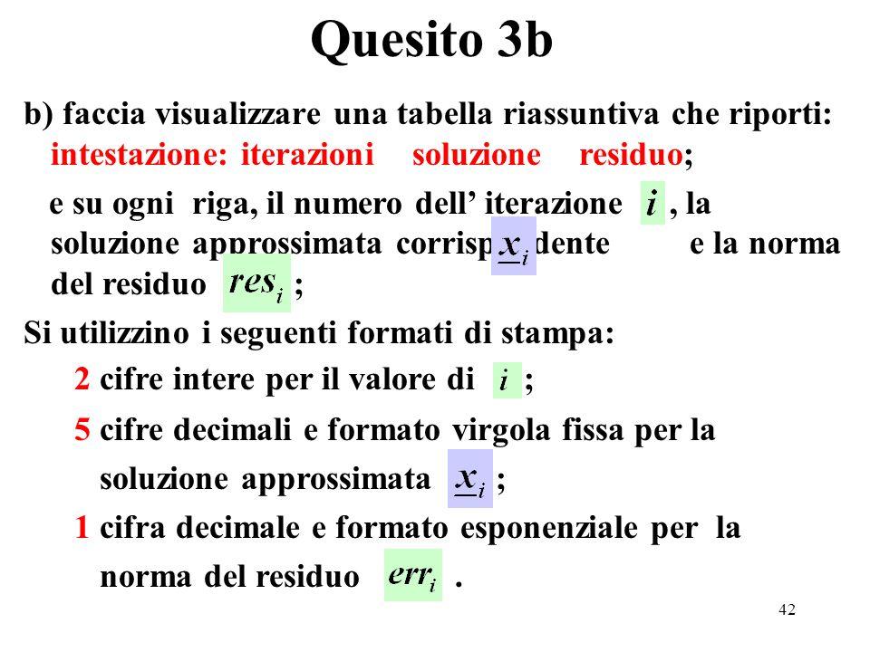 42 b) faccia visualizzare una tabella riassuntiva che riporti: intestazione: iterazioni soluzione residuo; e su ogni riga, il numero dell iterazione, la soluzione approssimata corrispondente e la norma del residuo ; Si utilizzino i seguenti formati di stampa: 2 cifre intere per il valore di ; 5 cifre decimali e formato virgola fissa per la soluzione approssimata ; 1 cifra decimale e formato esponenziale per la norma del residuo.