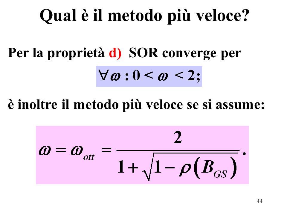 44 Qual è il metodo più veloce? Per la proprietà d) SOR converge per è inoltre il metodo più veloce se si assume: