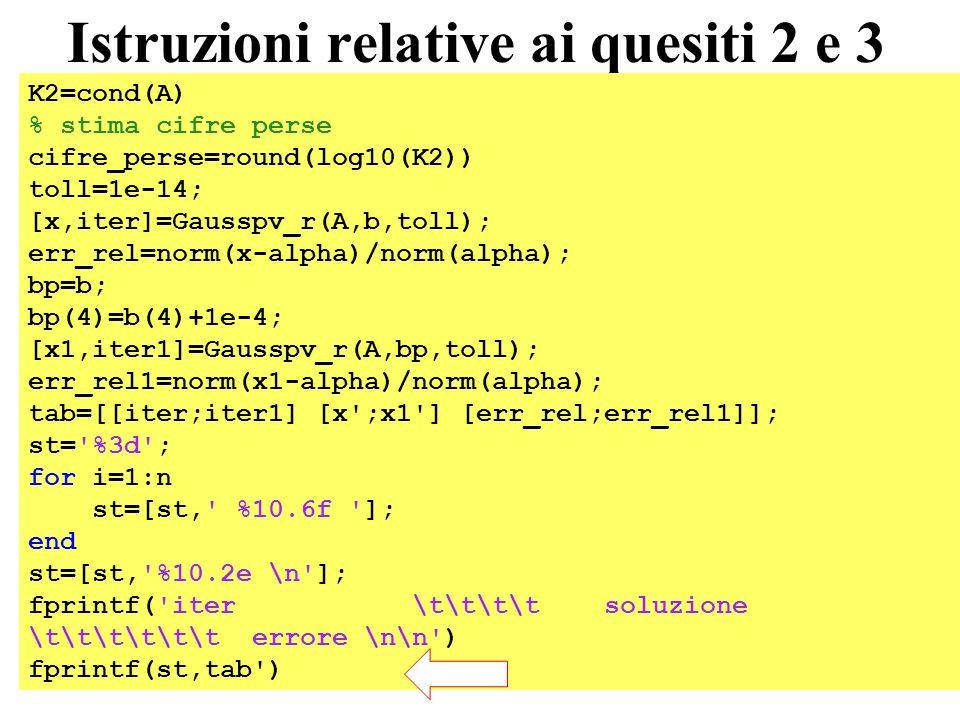 54 Istruzioni relative ai quesiti 2 e 3 K2=cond(A) % stima cifre perse cifre_perse=round(log10(K2)) toll=1e-14; [x,iter]=Gausspv_r(A,b,toll); err_rel=norm(x-alpha)/norm(alpha); bp=b; bp(4)=b(4)+1e-4; [x1,iter1]=Gausspv_r(A,bp,toll); err_rel1=norm(x1-alpha)/norm(alpha); tab=[[iter;iter1] [x ;x1 ] [err_rel;err_rel1]]; st= %3d ; for i=1:n st=[st, %10.6f ]; end st=[st, %10.2e \n ]; fprintf( iter \t\t\t\t soluzione \t\t\t\t\t\t errore \n\n ) fprintf(st,tab )