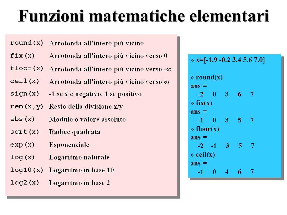 Funzioni matematiche elementari » x=[-1.9 -0.2 3.4 5.6 7.0] » round(x) ans = -2 0 3 6 7 » fix(x) ans = -1 0 3 5 7 » floor(x) ans = -2 -1 3 5 7 » ceil(x) ans = -1 0 4 6 7 » x=[-1.9 -0.2 3.4 5.6 7.0] » round(x) ans = -2 0 3 6 7 » fix(x) ans = -1 0 3 5 7 » floor(x) ans = -2 -1 3 5 7 » ceil(x) ans = -1 0 4 6 7